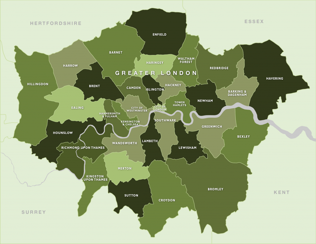 Map of all london boroughs listed